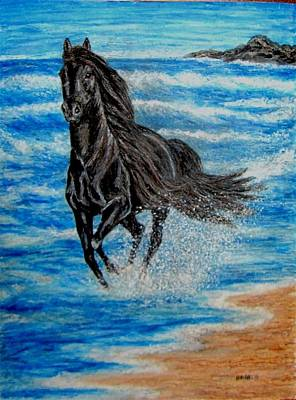 Equine Painting - Black Horse Wave Running by Lauri Kraft