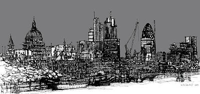 Dark Ink London Skyline With Grey Sky Art Print by Adendorff Design