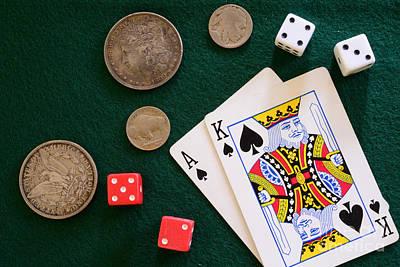Bachelor Pad Photograph - Black Jack And Silver Dollars by Paul Ward