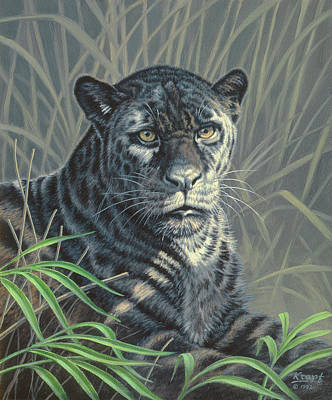 South American Painting - Black Jaguar by Paul Krapf