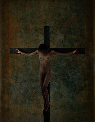 Crucifixion Wall Art - Photograph - Black Jesus Crucifix by Ramon Martinez