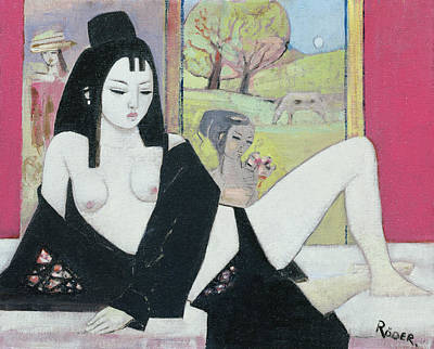 Bare Breasts Photograph - Black Kimono, 2008 Oil On Board by Endre Roder