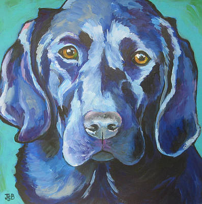 Painting - Black Lab - Percy by Janet Burt