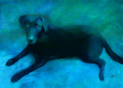 Retriever Digital Art - Black Lab by Ann Powell