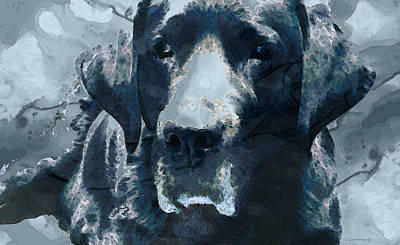 Black Lab Art - To The Moon And Back - By Sharon Cummings Art Print