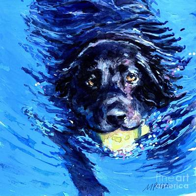 Water Retrieve Painting - Black Lab  Blue Wake by Molly Poole