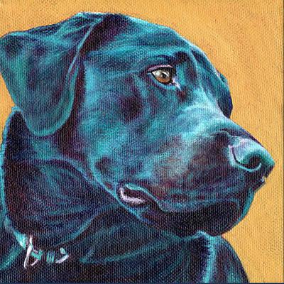 Gold Labrador Painting - Black Lab On Gold by Linda Evans Davis