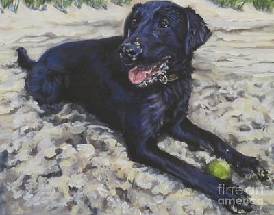 Painting - Black Lab On The Beach by Lee Ann Shepard