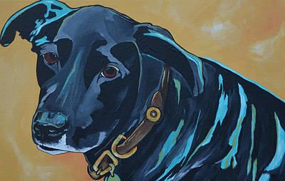 Soulful Eyes Painting - Black Lab by Patti Schermerhorn