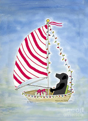 Painting - Black Lab Sailing Into Christmas by Amy Reges