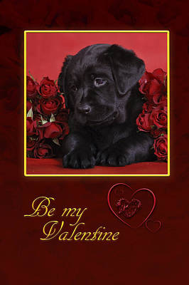 Black Lab Valentine Art Print by Waldek Dabrowski