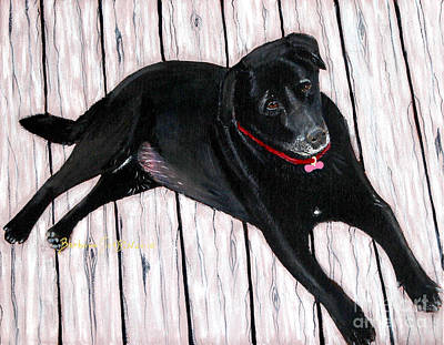 Lazy Dog Painting - Black Labrador  by Barbara Griffin