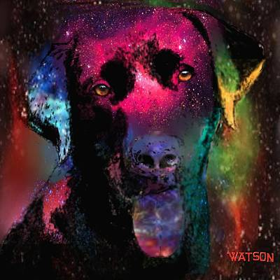 Digital Art - Black Labrador Dog by Marlene Watson