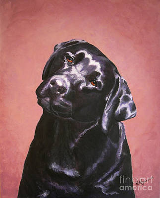 Lab Painting - Black Labrador Portrait Painting by Amy Reges