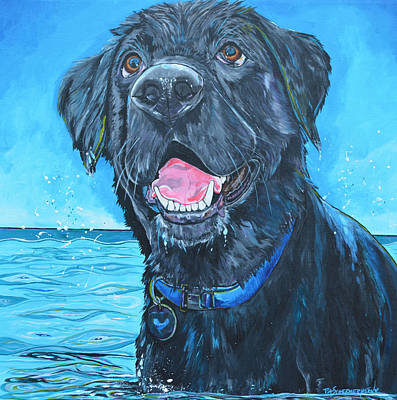 Painting - Black Labrador Retriever In The Water by Patti Schermerhorn