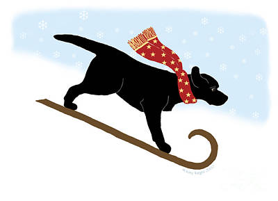 Digital Art - Black Labrador Sledding Dog by Amy Reges