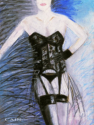 Painting - Black Lace Corset Art Print by William Cain
