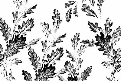 Black Leaves On White Art Print