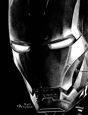 Robert Downey Jr Drawing Drawing - Black Led Avenger by Kayleigh Semeniuk