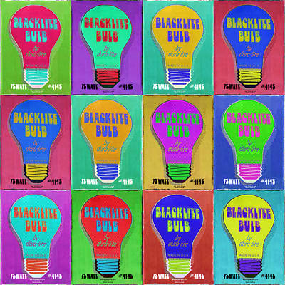 Found Object Painting - Black Light Bulbs Poster by Tony Rubino