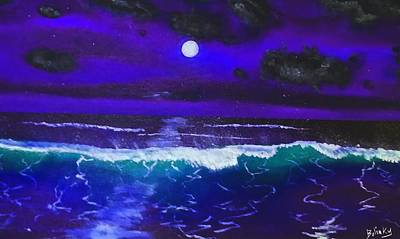 Wind Surfing Art Painting - Black Light Night by Gary Bolinky
