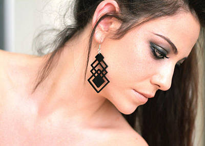 Perspex Jewelry Jewelry - Black Long Geometric Earring by Rony Bank