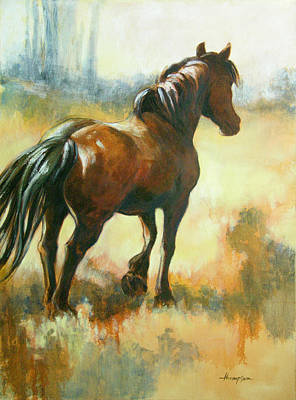 Black Mare In Summer Art Print by Tracie Thompson