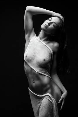 Nude Woman Torso Photograph - Black Milk by Anton Belovodchenko