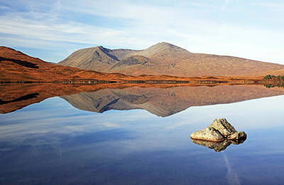 Scottish Landscape Photograph - Black Mount Mountain Range Reflection by Grant Glendinning
