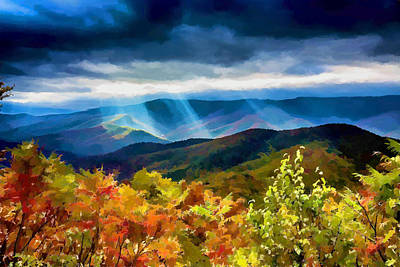 Black Mountains Overlook On The Blue Ridge Parkway Art Print by John Haldane