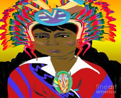 Painting - Black Native American Indian by Belinda Threeths
