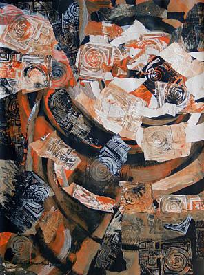 Mixed Media - Black Orange Ancient by Lynda Hoffman-Snodgrass