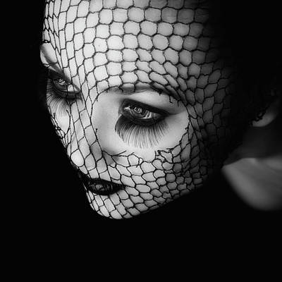 Lips Photograph - Black by Oren Hayman