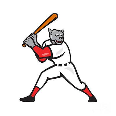 Black Panther Digital Art - Black Panther Baseball Player Batting Isolated by Aloysius Patrimonio