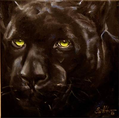Painting - Black Panther by Em Kotoul
