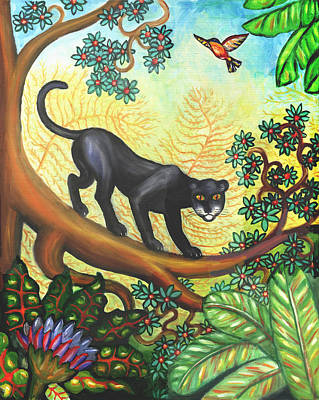 Cat Painting - Black Panther by Linda Mears