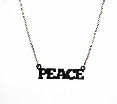 Perspex Necklace Jewelry - Black Peace Pendant Necklace by Rony Bank