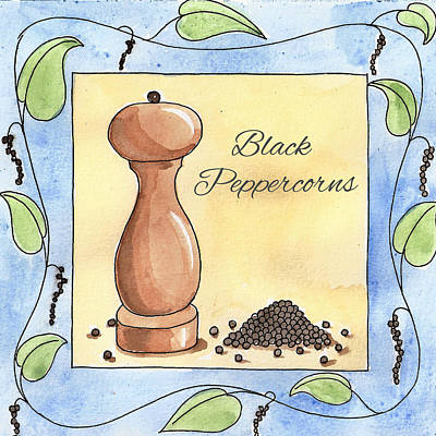 Studio Drawing - Black Peppercorns Kitchen Art by Christy Beckwith