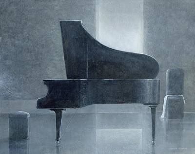 Piano Painting - Black Piano 2004 by Lincoln Seligman