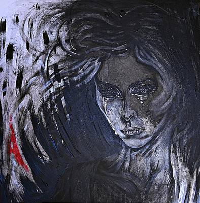 Painting - black portrait 16 Juliette by Sandro Ramani