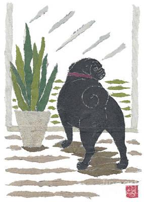 Black Pug Art Hand-torn Newspaper Collage Art Art Print by Keiko Suzuki Bless Hue