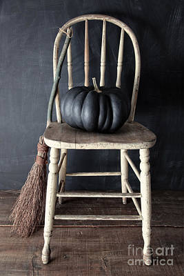 Photograph - Black Pumpkin On Chair With Old Broom by Sandra Cunningham