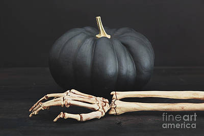 Photograph - Black Pumpkin With Skeleton Arm And Hand by Sandra Cunningham