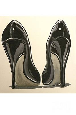 Art Print featuring the painting Black Pumps by Marisela Mungia
