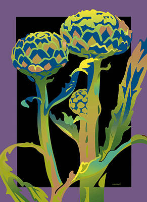 Black-purple Artichoke Art Print