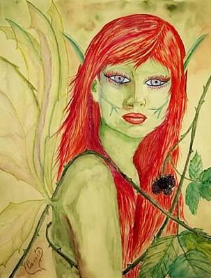 Painting - Black Raspberry Faerie by Carrie Viscome Skinner