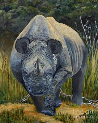 Poaching Painting - Black Rhino by Caroline Street