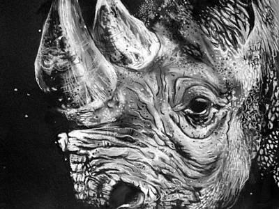 Rhinoceros Drawing - Black Rhino by Sharlena Wood