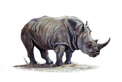 Black Rhinoceros Art Print by DiDi Higginbotham