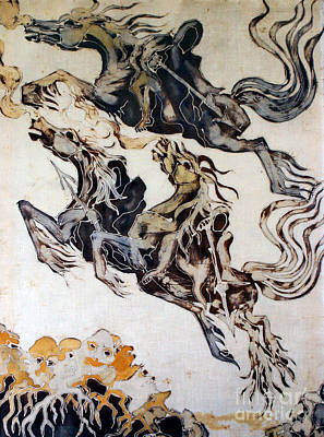 Tapestry - Textile - Black Riders Ascend by Carol Law Conklin